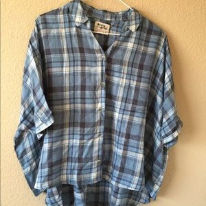Anthropologie Holding Horses M Plaid draped top